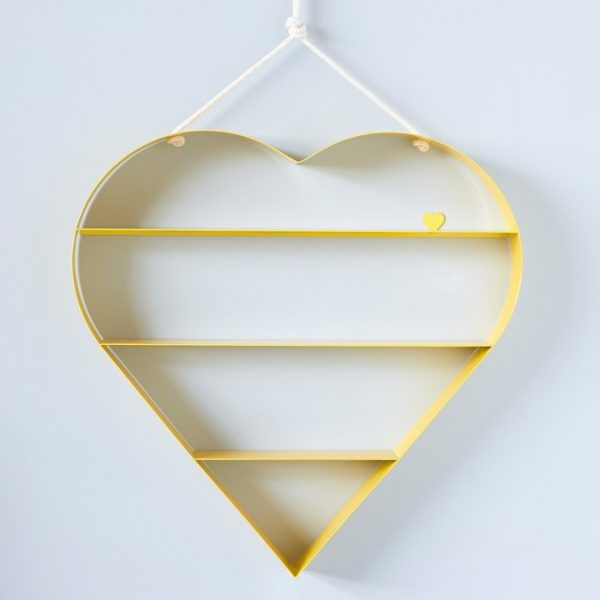 Bride and Wolfe hanging-heart-shelf-yellow