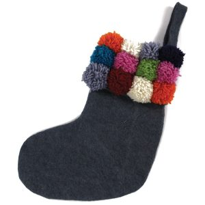 Down To The Woods Christmas Stocking Pom Pom Grey