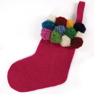 Down To The Woods Christmas Stocking Pom Pom Pink