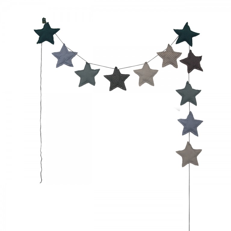Numero 74 Padded Star Garland Blue