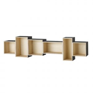 Bloomingville Bookcase Display Shelf Black and Natural