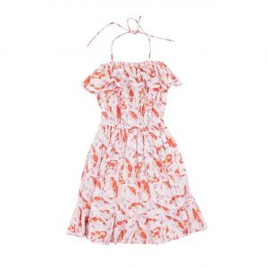 Bella & Lace Ariel Dress Goldfish Print Summer 17 collection. Beautiful light weight dress with frill details and tie up straps. Also features elasticated waist.