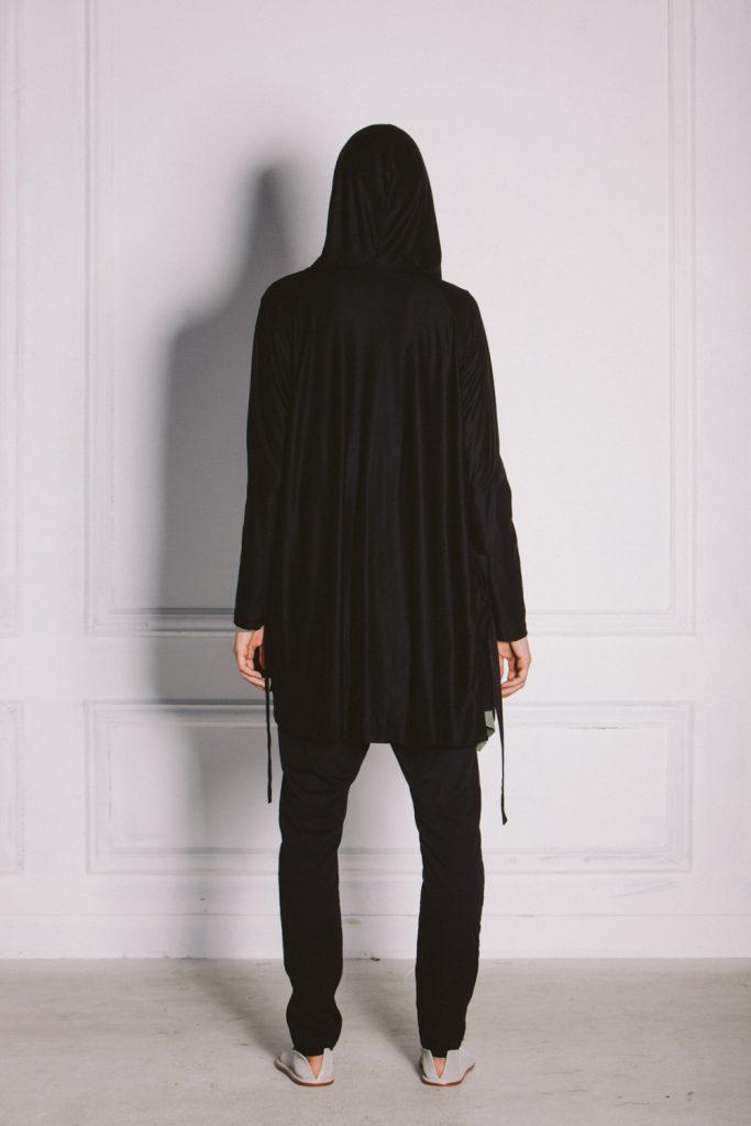 Kin Merino Hooded Cardigan Black