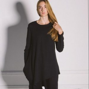 Kin Womens Long Sleeve Diagonal Tee Black