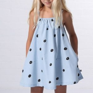 Minti Happy Dots Chambray Dress Blue Chambray Lifestyle