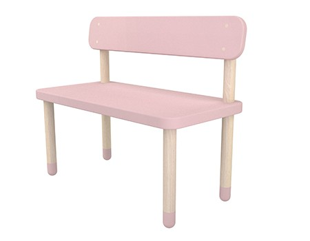 Flexa Play Bench with Back Rest Rose