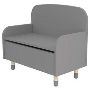 Flexa Play Storage Bench With Backrest Urban Grey