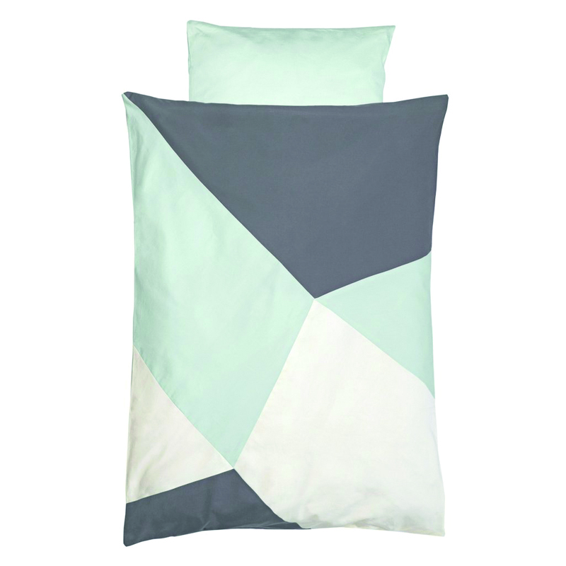 Fabelab Sleepy Junior Cot Quilt Cover Set Jade Geometric
