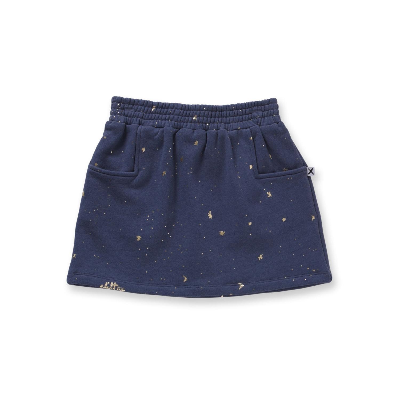 Minti Glitter Furry Skirt Midnight
