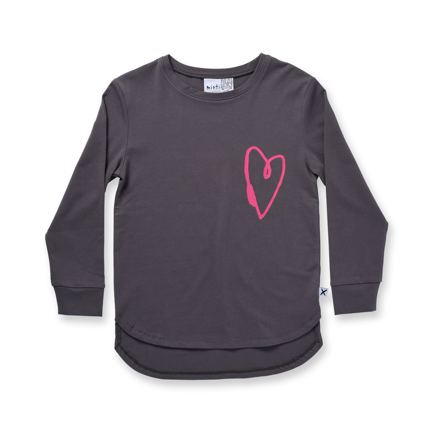 Minti Lovely Heart L/Sleeve Tee Dark Grey