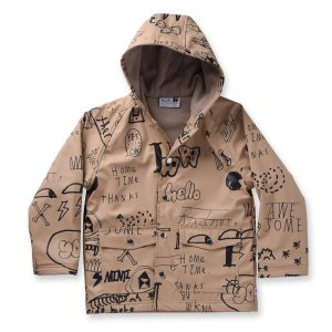 Minti Scribbles Lined Raincoat Tan