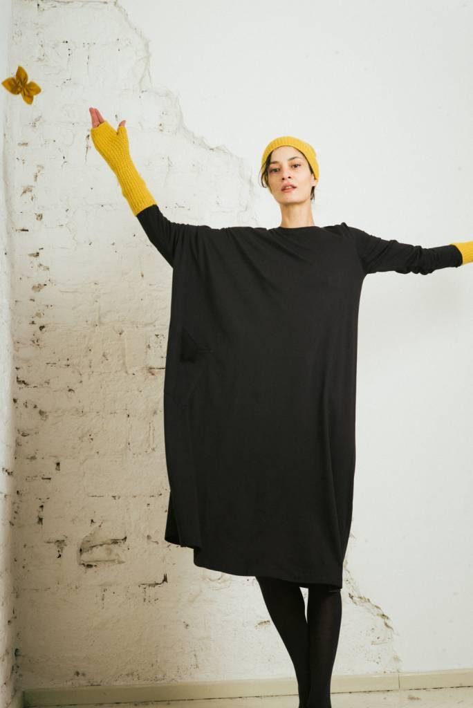 Kin Womens Long Sleeve Asymmetric Dress Black