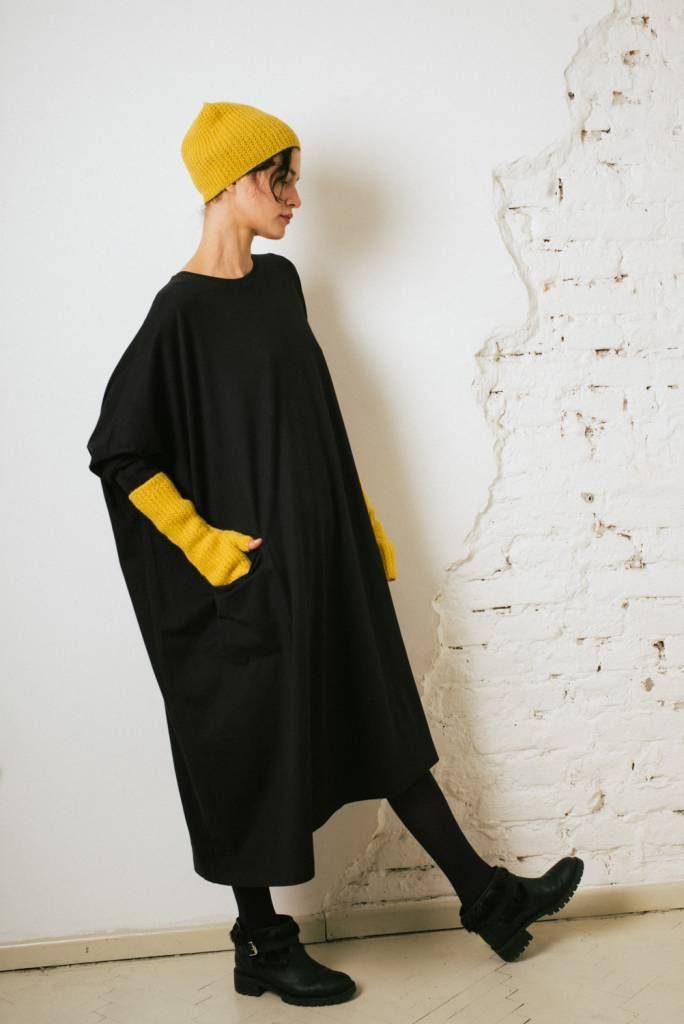 Kin L/Sleeve Asymmetric Dress Black