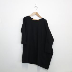 Kin Long Sleeve Asymmetric Tee Dress Black