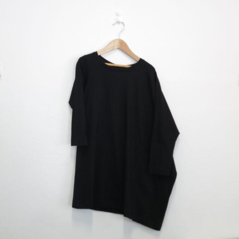 Kin Long Sleeve Asymmetric Tee Dress Black