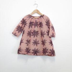 Kin Pleated Tilda Dress Dusty Pink + Aubergine Print