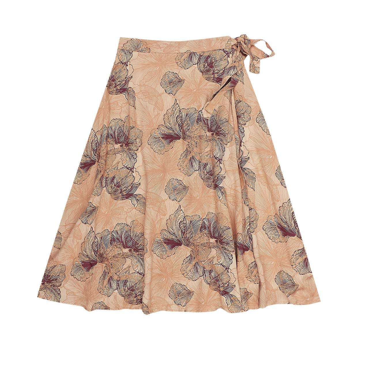 Bella and Lace Jean Wrap Skirt Skeleton Flower