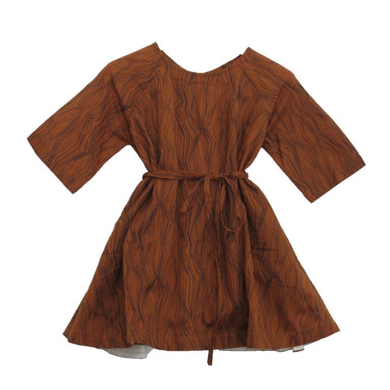 Kin Short Sleeve Dervish Dress Caramel + Black Contour Print