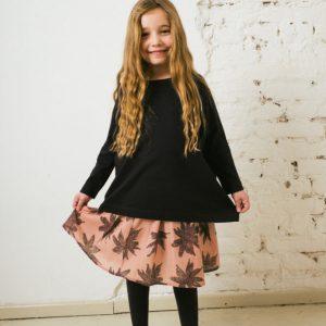 Kin Pleated Yana Skirt Dusty Pink + Aubergine Print