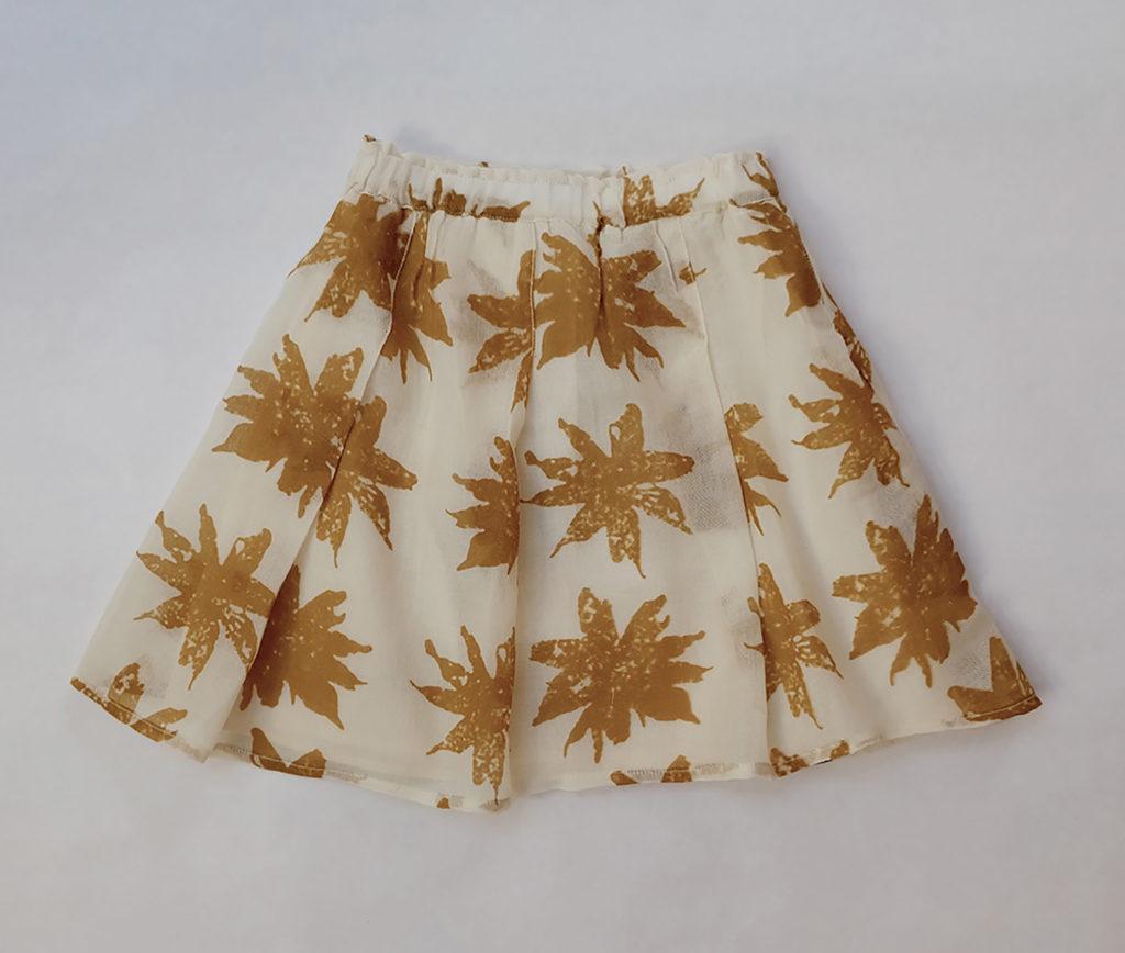 Kin Pleated Yana Skirt Natural + Mustard Print