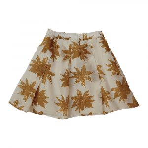 Kin Pleated Yana Skirt Natural + Mustard Print
