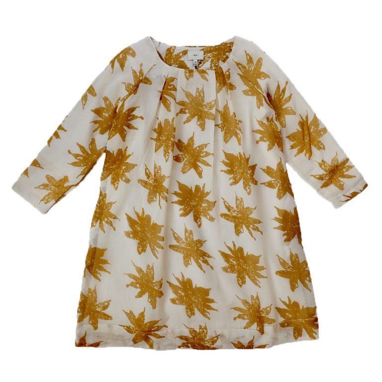 Kin Pleated Tilda Dress Natural + Saffron Print