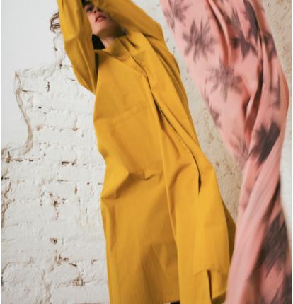 Kin Womens A-Line Shirt Dress Saffron