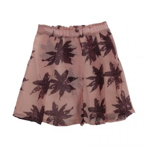 Kin Pleated Yana Skirt Dusty Pink + Aubergine Print