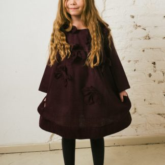 Kin Charlotte Applique Dress Aubergine + Aubergine Flowers