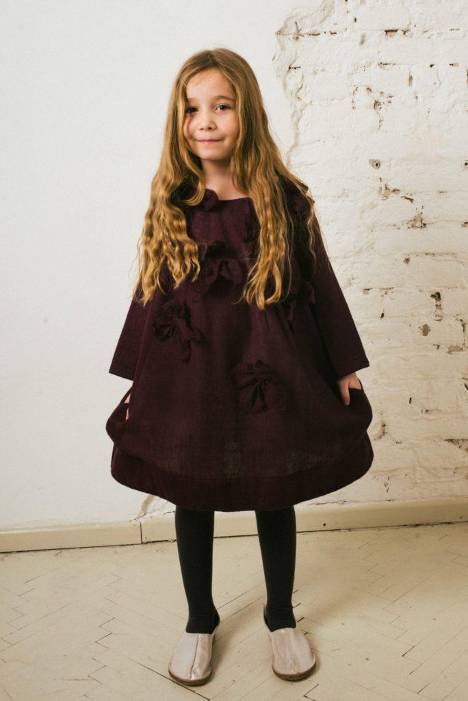 Kin Charlotte Applique Dress Aubergine + Aubergine Flowers