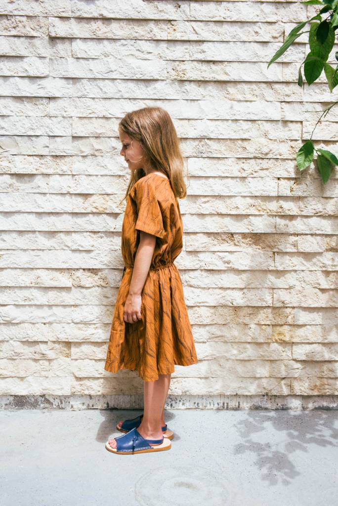 Kin Short Sleeve Dervish Dress Caramel + Black Contour Print