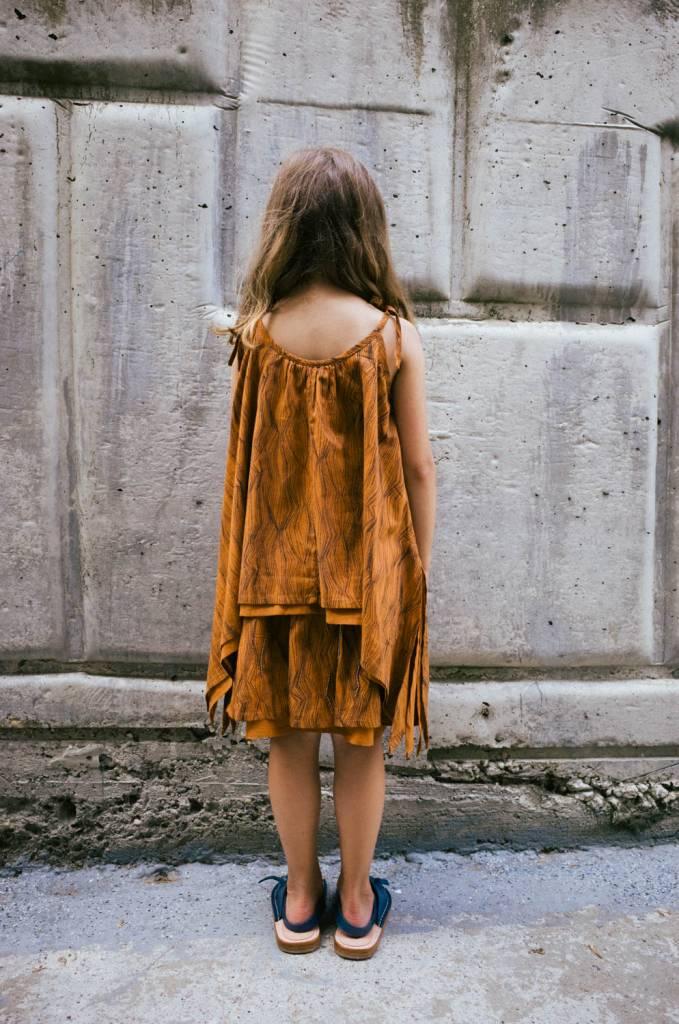 Kin Brilla Skirt Beaded Caramel + Black Contour Print