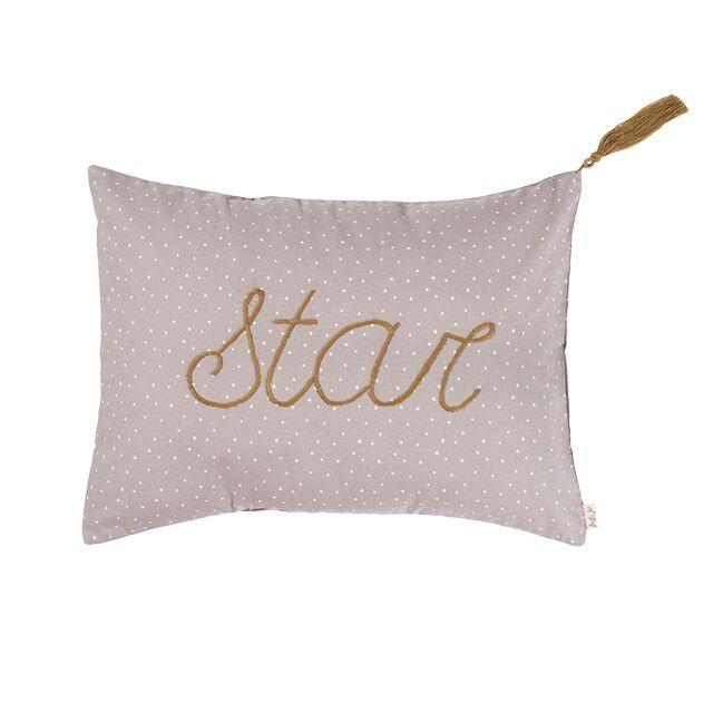 Numero 74 Message Cushion Star Stars Silver Grey