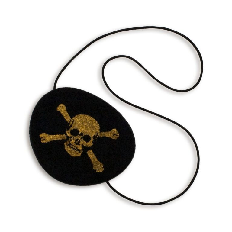 Numero 74 Pirate Eye Patch The Numero 74 pirate eye patch is a fun dress up piece that makes a great gift for little friends, party bag filler, pocket money purchase or stocking filler.  If you have a rogue pirate ruling your ship - you need to make them look the part.  This eye patch has a pirate skull and bones symbol printed onto soft black felt and secures around the head with elastic.