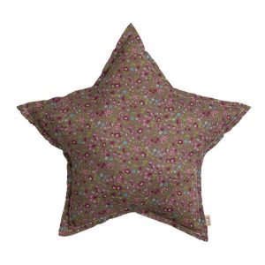 Numero 74 Star Cushion Small Fall Flowers Taupe Pink
