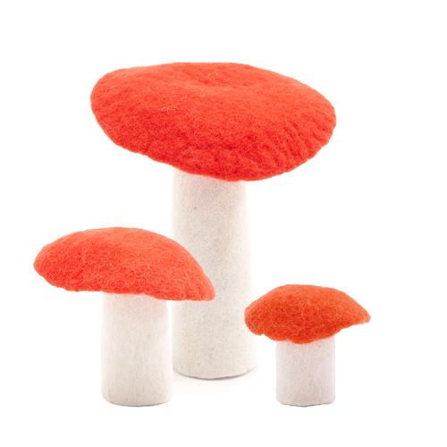 Muskhane Felt Wool Mushroom Fluro Orange