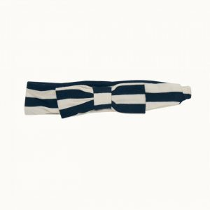Nature Baby Stretch Jersey Bow Headband Navy Sea Stripe