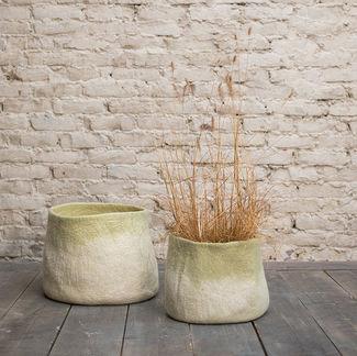 Muskhane Calabash Storage Basket Medium Natural/Lemongrass