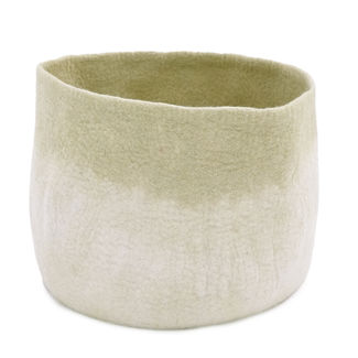 Muskhane Bicolour Calabash Storage Basket Natural/Lemongrass