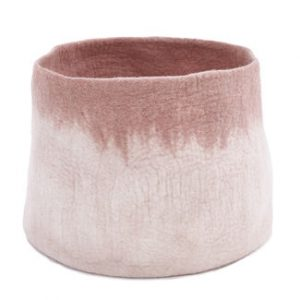 Muskhane Bicolour Calabash Storage Basket Natural/Quartz Pink