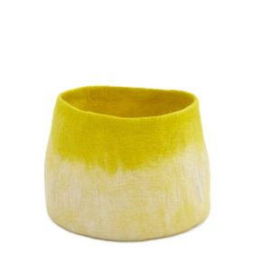 Muskhane Bicolour Calabash Storage Basket Natural/Sulphur Flower