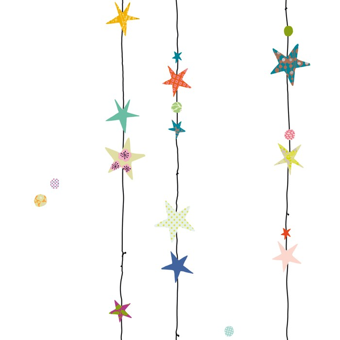 Mimi'lou Decal String of Stars Black