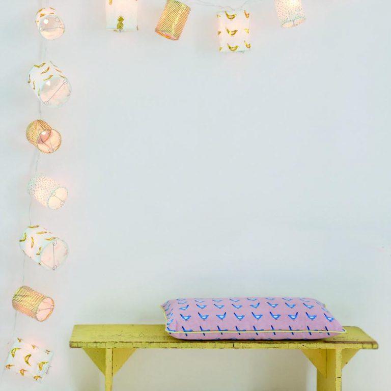 Mimi'lou Blue Bird Pink Cushion