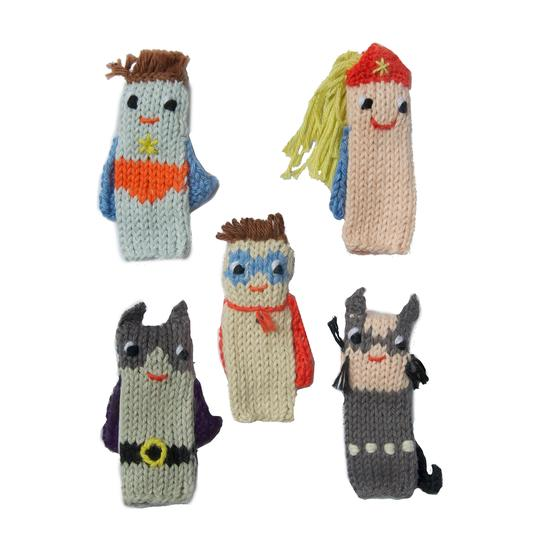 Blabla Knitted Finger Puppets Super Hero Set