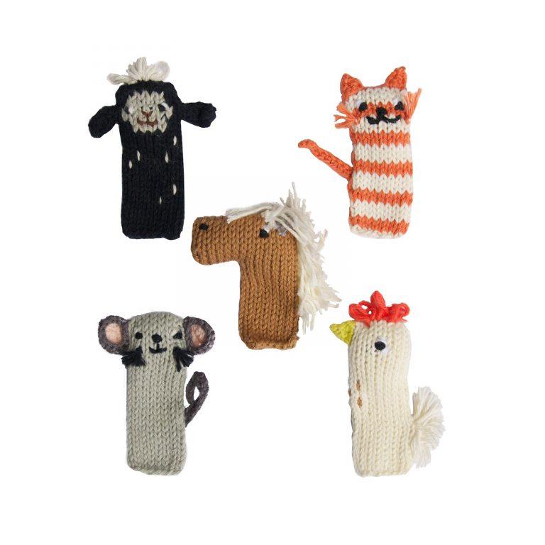 Blabla Knitted Finger Puppets Barn Set