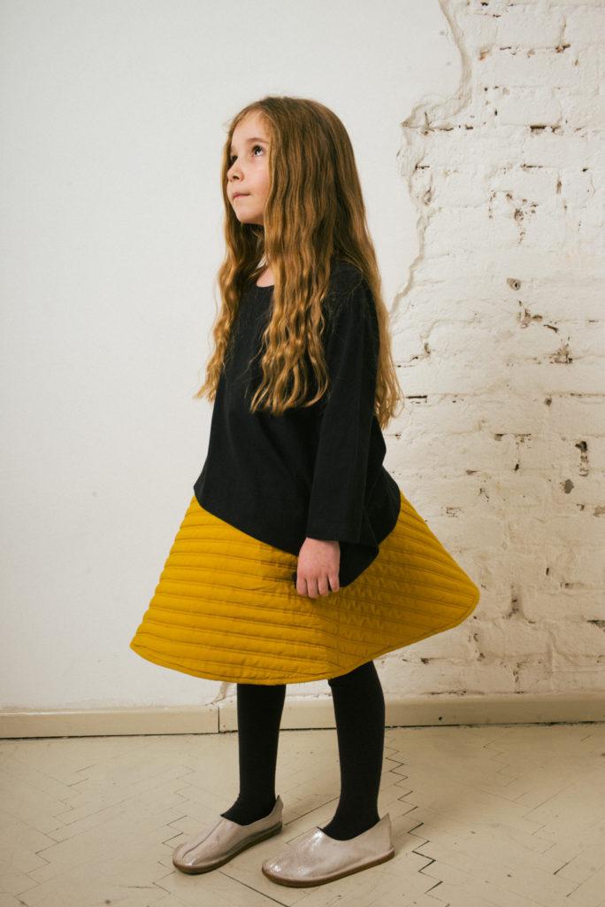 Kin Quilted Mobius Skirt Saffron
