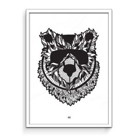 Noah & Bowie Masked Bear Art Print