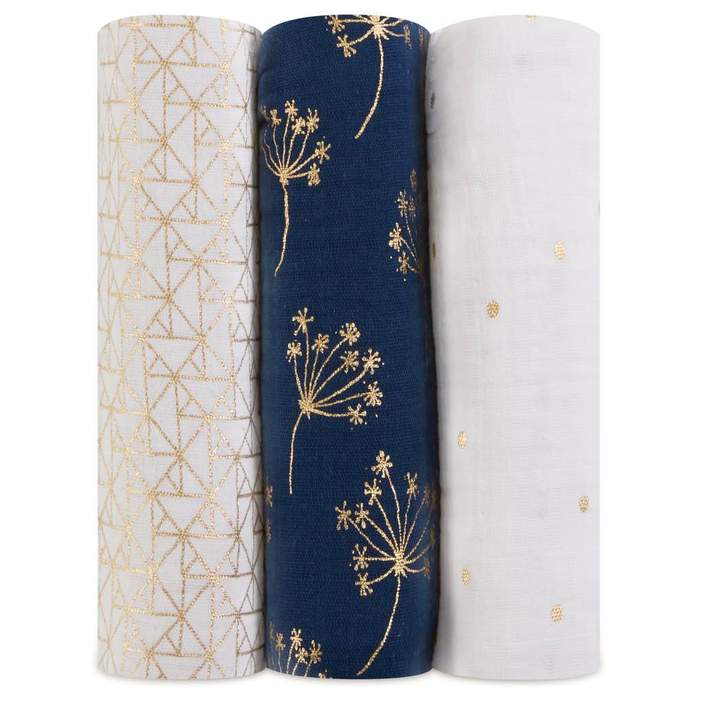 Aden + Anais Classic Swaddle 3 Pack Metallic Gold Deco
