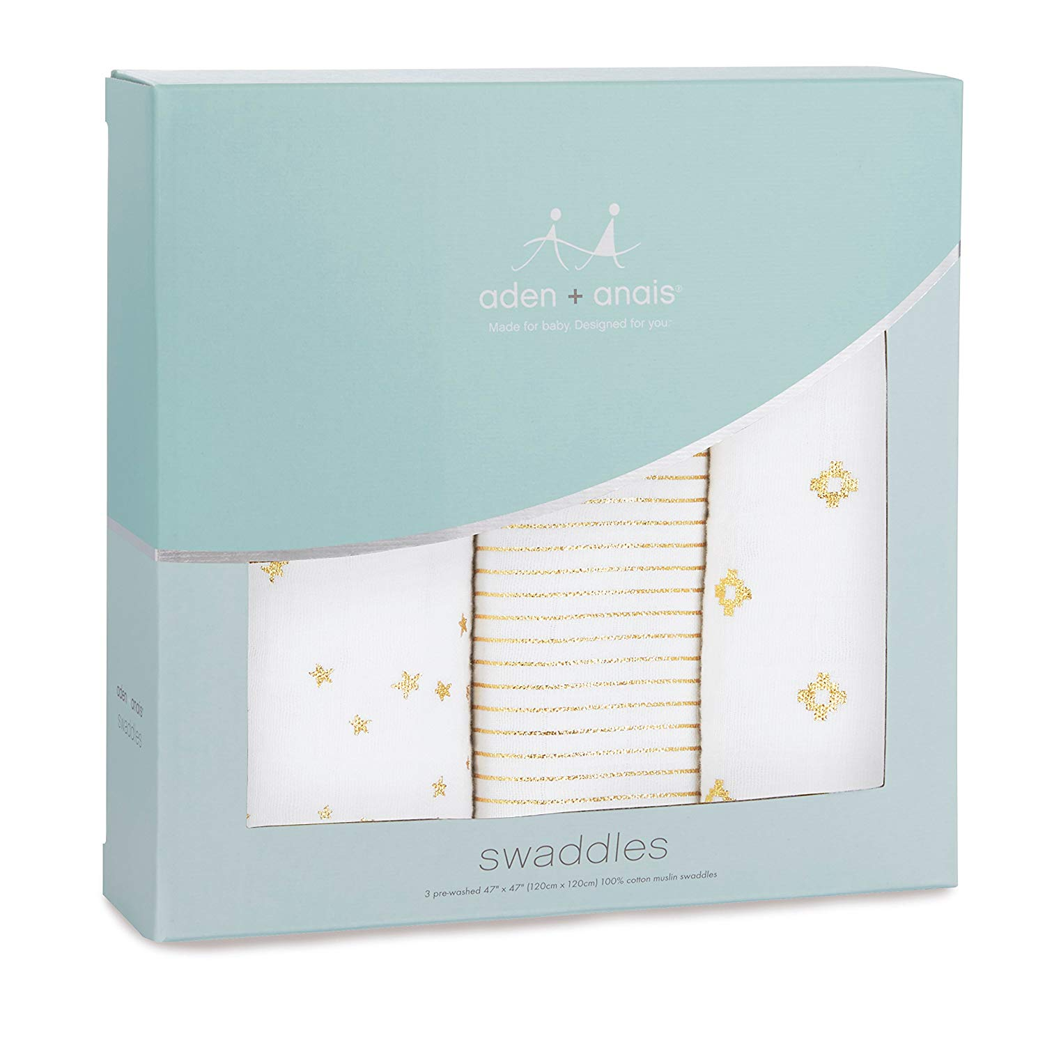Aden + Anais Classic Swaddle 3 Pack Metallic Gold