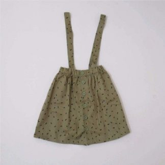 Indikidual Drew Skirt With Braces Khaki Dash Print